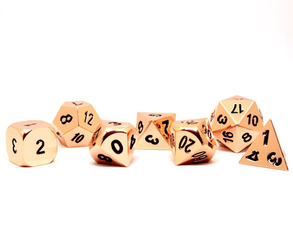 Shadow Rogue Rose Gold / Copper Polyhedral D&D Dice Set with Case