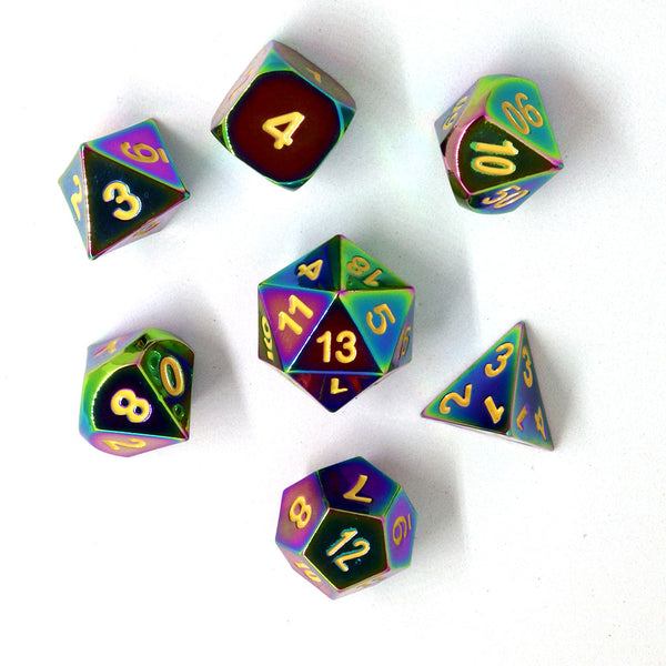 Rainbow Metal D&D Dice Set