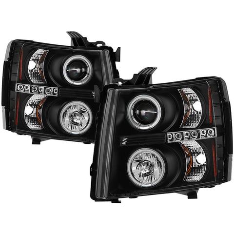 injected motorsports SPYDER (5033864) BLACK PROJECTOR HEADLIGHTS W/ CCFL HALO; 07-14 CHEVY SILVERADO