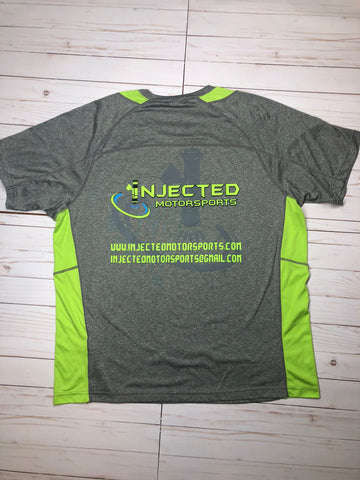 INJECTED MOTORSPORTS 100% POLY SPORT GREY/GREEN PERFORMANCE SHIRT