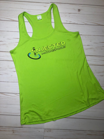 INJECTED MOTORSPORTS WOMEN'S PERFORMANCE TANK TOP 100% POLY GREEN