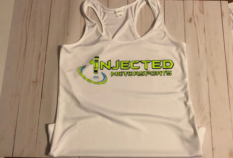 INJECTED MOTORSPORTS WOMEN'S PERFORMANCE TANK TOP 100% POLY WHITE