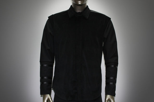 SHIRT - BLACK COOL WOOL AND COTTON VELVET