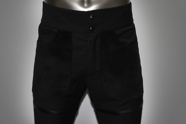TROUSERS - BLACK COOL WOOL AND LEATHER