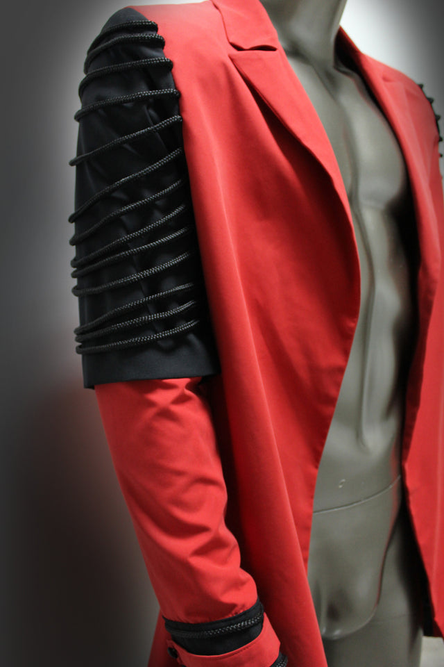 MACKINTOSH - BLACK AND RED; POLYESTER AND GABARDINE WITH ELASTANE