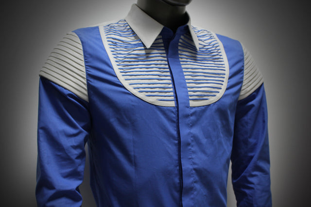 SHIRT - BLUE COTTON AND WHITE LEATHER