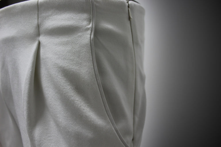 TROUSERS - WHITE TRICOT-COTTON, WHITE LEATHER AND COTTON