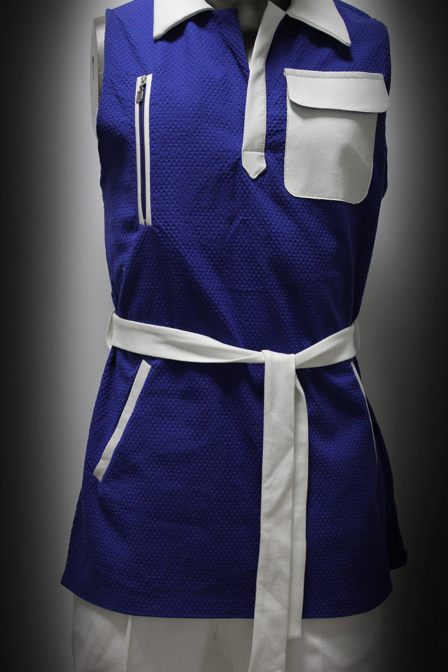 VEST - WHITE AND BLUE, TRICOT-COTTON AND LEATHER