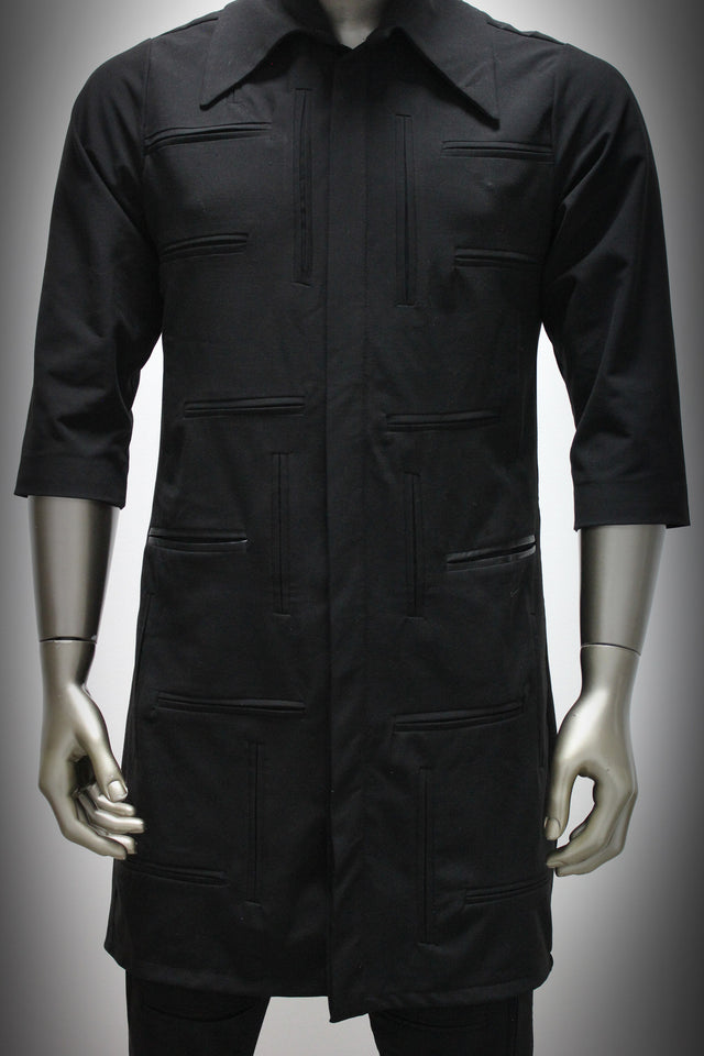 SHIRT - BLACK GABARDINE AND LEATHER