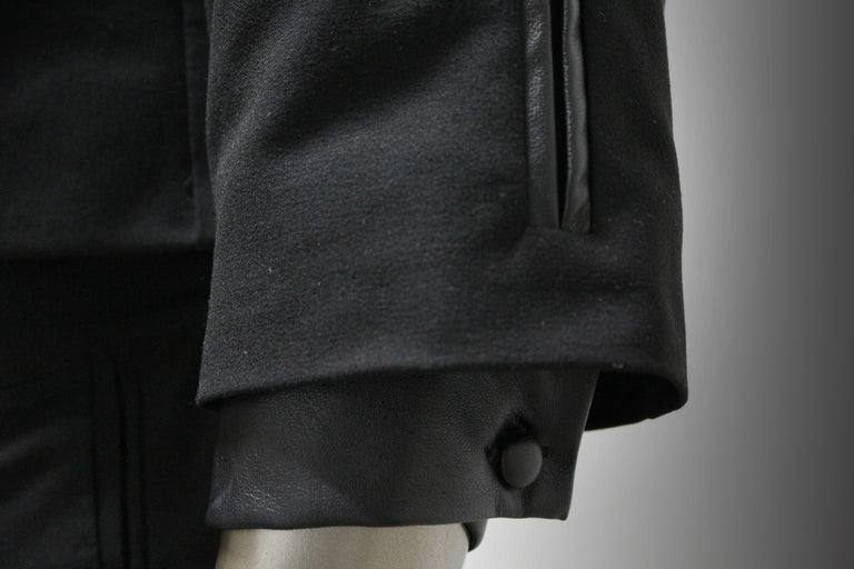 COAT - BLACK GABARDINE AND LEATHER