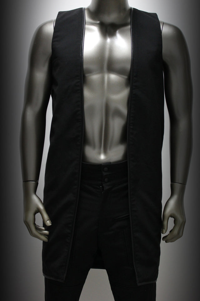VEST - BLACK GABARDINE AND LEATHER