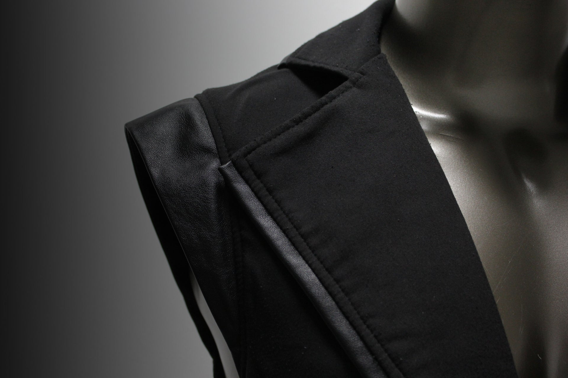 VEST - BLACK GABARDINE AND BLACK LEATHER