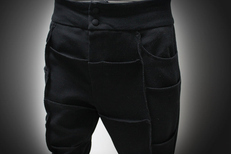 TROUSERS - BLACK, COTTON WITH ELASTANE