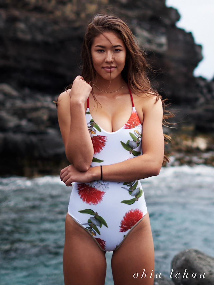 Ohio lehua one piece on white magdakine magdakinedesigns swimwear prints with a purpose rapid ohia death