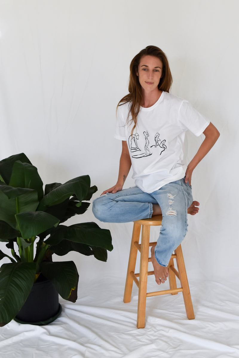 Yoga tee, t-shirt for yoga, yoga surf, surfing yoga, surfing tee, surf tee, yoga surf camp, feminist tee, feminist t-shirt, organic yoga tee, organic cotton tee, organic cotton t-shirt, the weekend series, MAGDAKINEDESIGNS