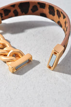 Leopard Leather Chain Bracelet