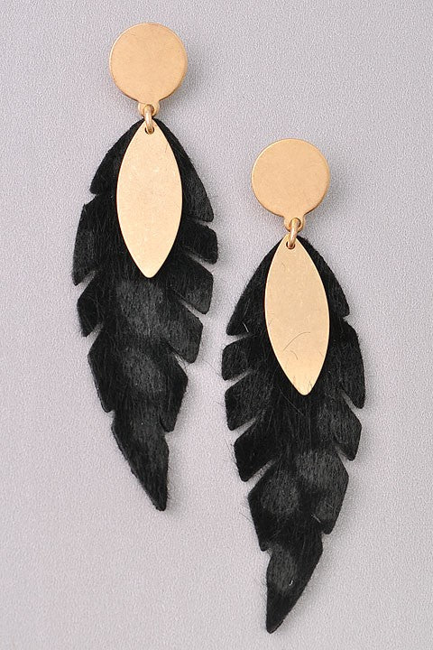 Leaf Statement Earrings-Black
