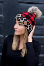 Leopard/Red Plaid Pom Beanie