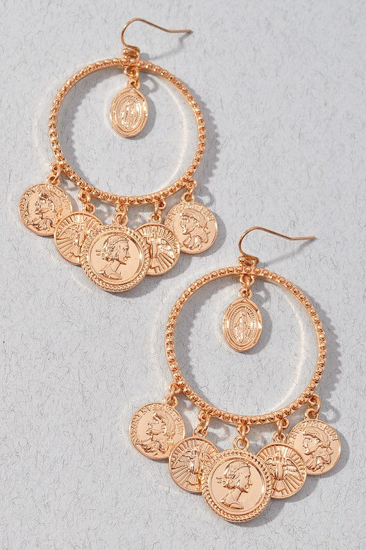 Gold Coin Dangle Earrngs