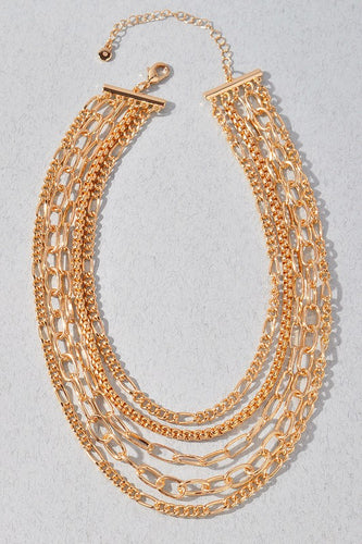 Multi Chain Gold Statement Necklace