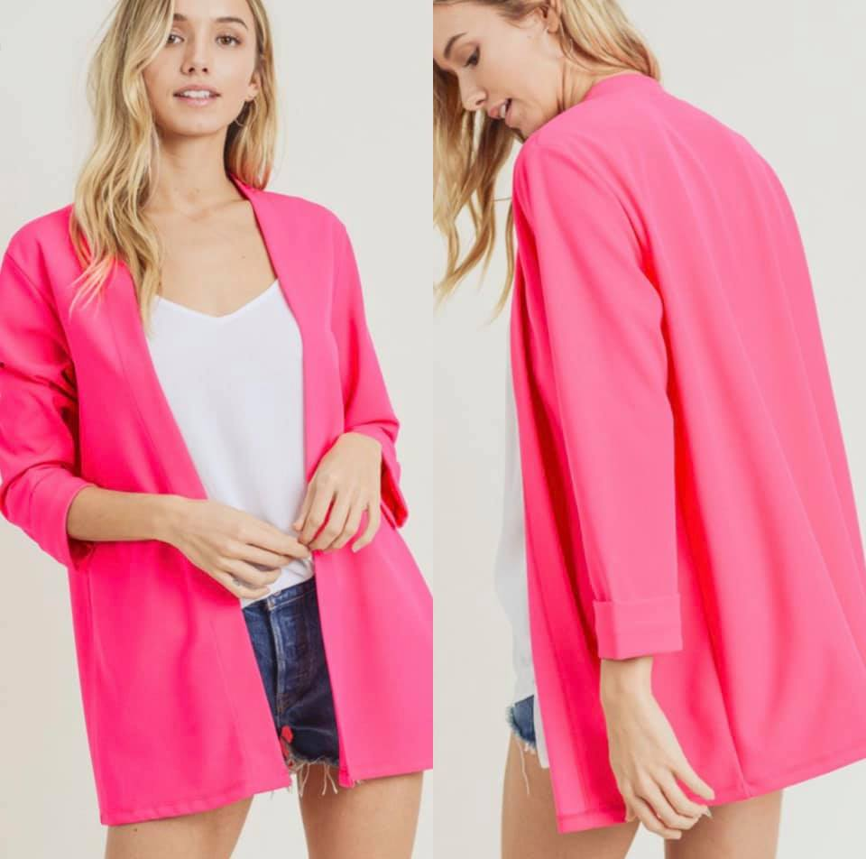 Chic Collarless Blazer-Hot Pink