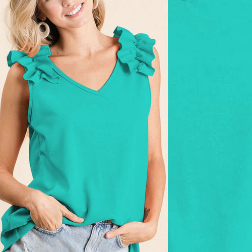 Ruffle V-Neck Sleeveless Top-Jade