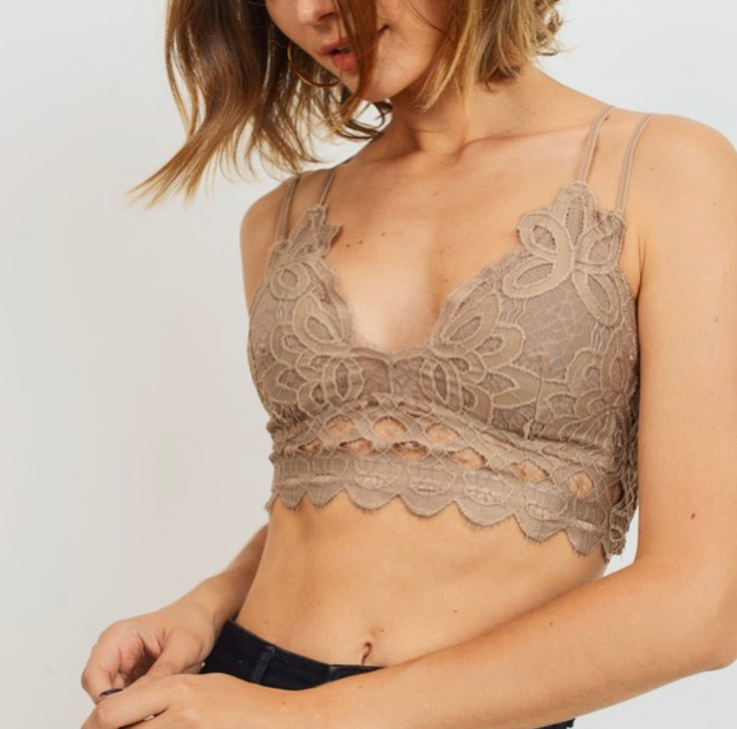 Lace Bralette-Taupe