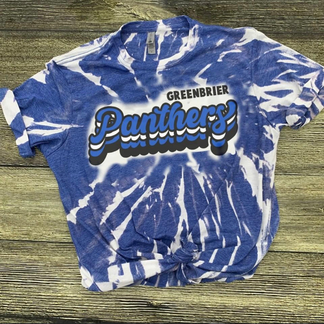 Tie Dye Greenbrier Panthers Tee