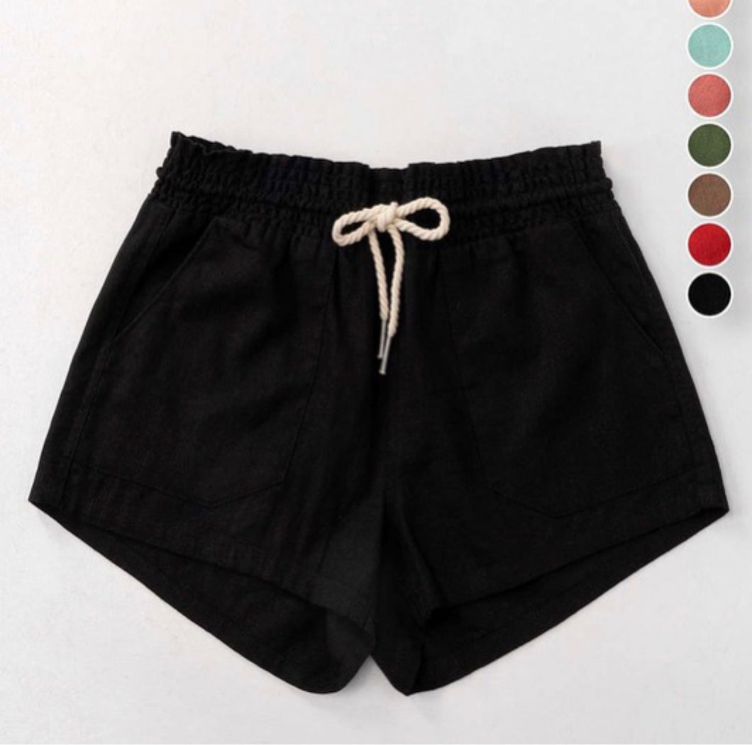 Rope Drawstring Linen Shorts-Black