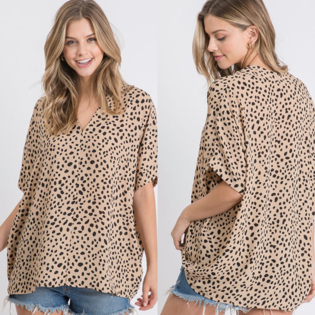 Taupe Spotted Megan Top