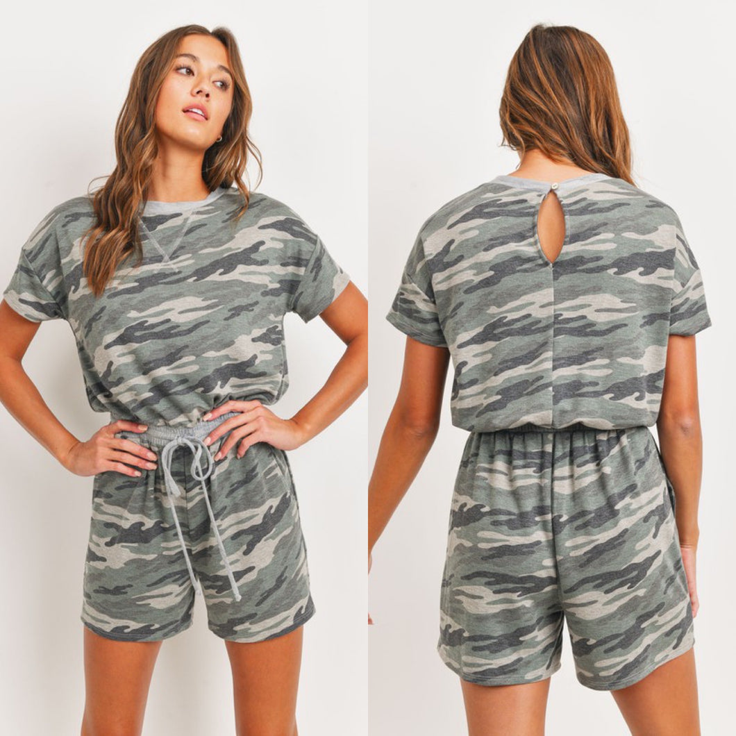 French Terry Camo Romper