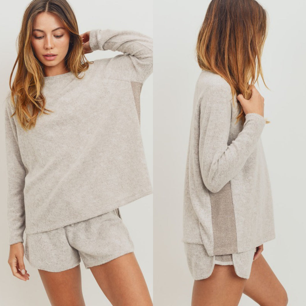 Taupe Contrast Soft Knit Top