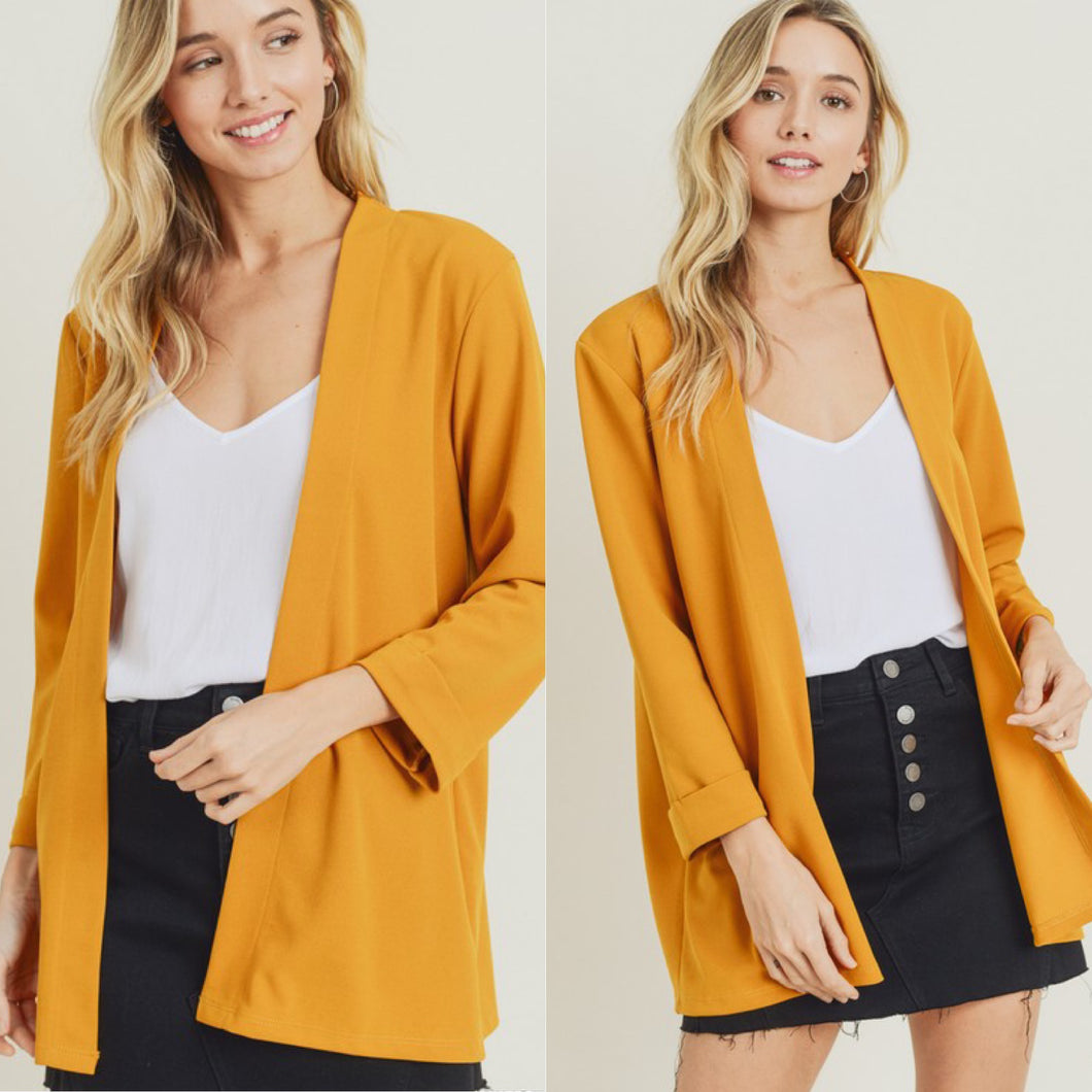 Chic Collarless Blazer-Mustard