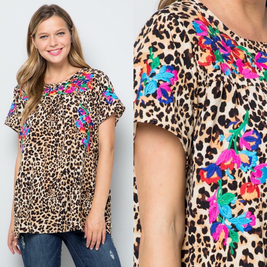 Embroidered Leopard Print Top