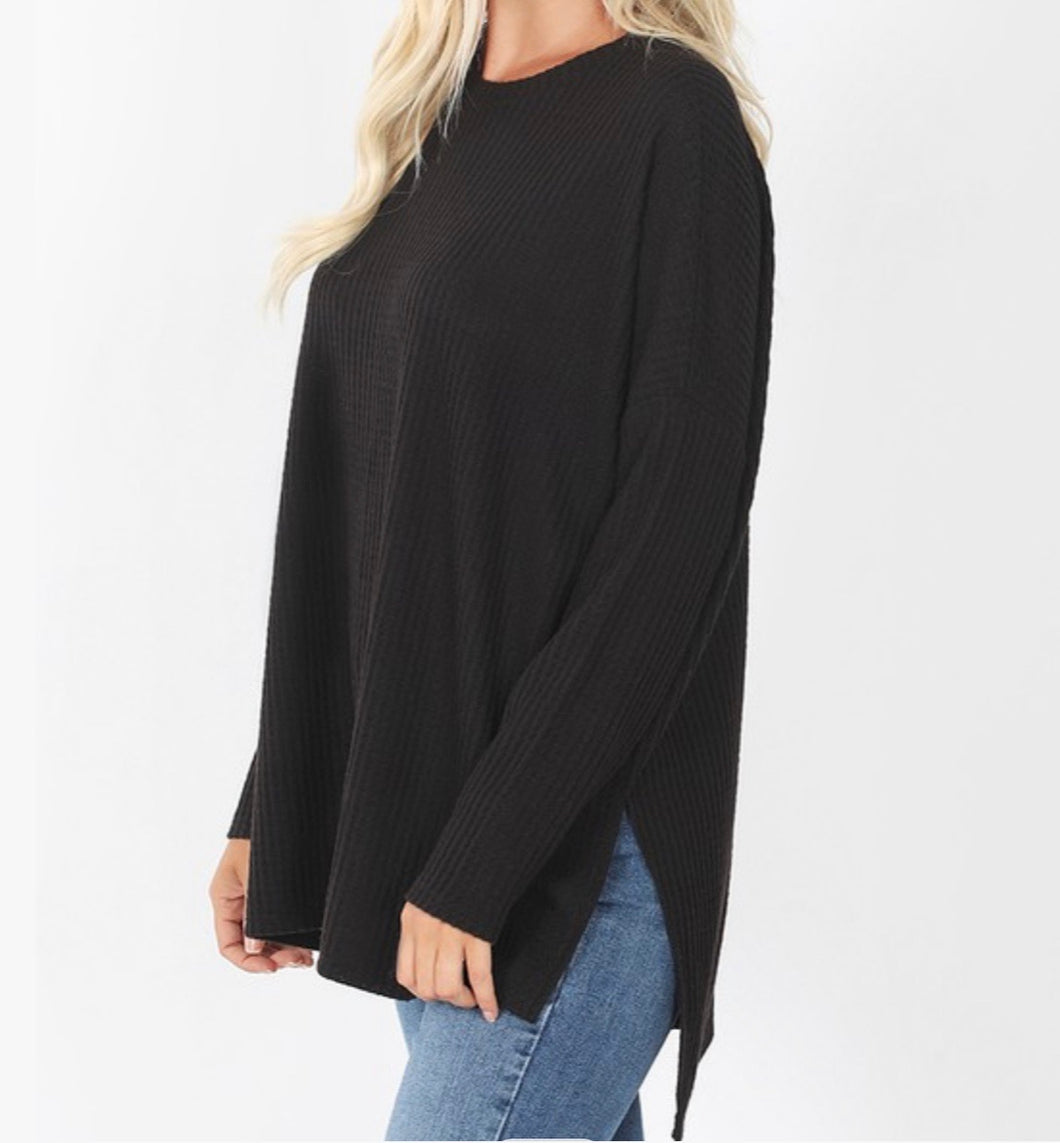 Thermal Waffle Knit Top-Black