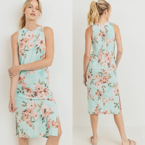 Floral Mint Terry Midi Dress