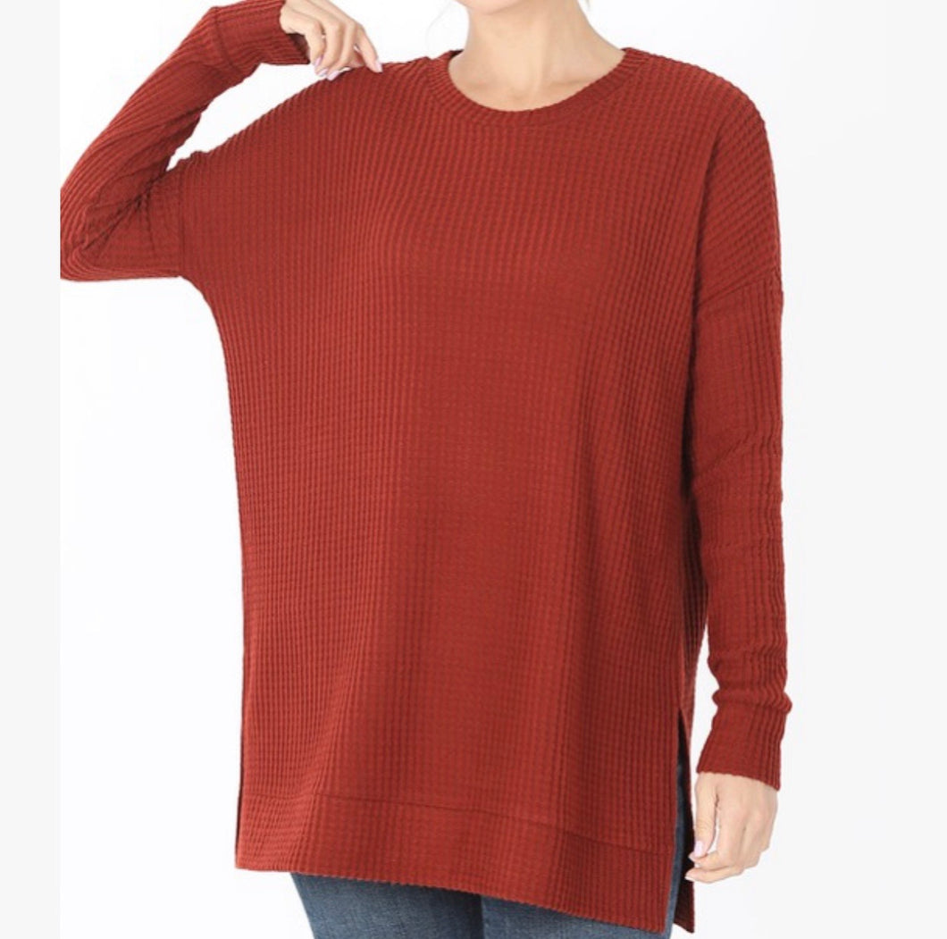 Thermal Waffle Knit Sweater Top-Fired Brick