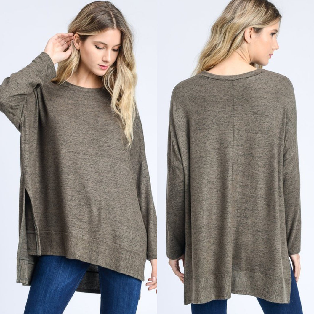 Kylie Top-Olive or Heather Grey