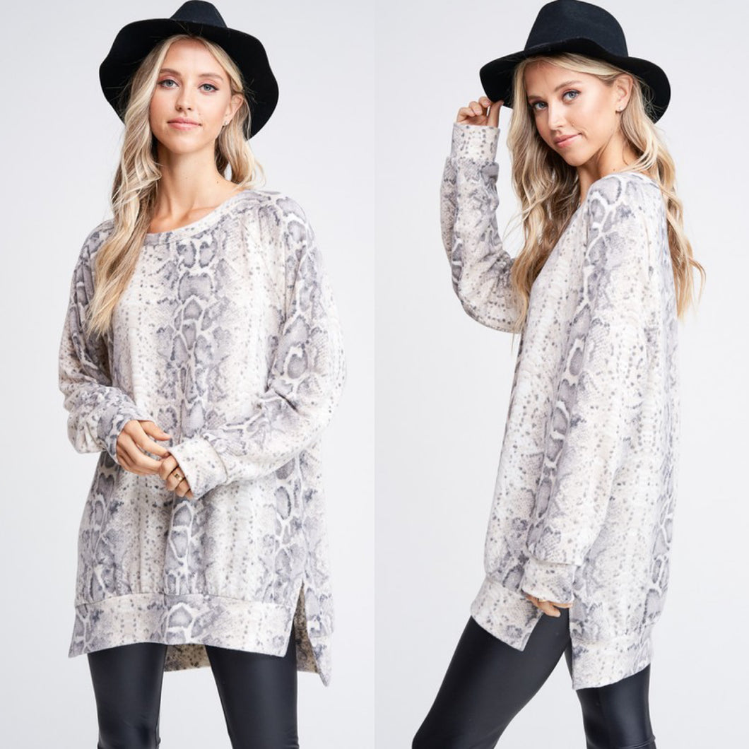 Long Body Snakeskin Print Tunic Top