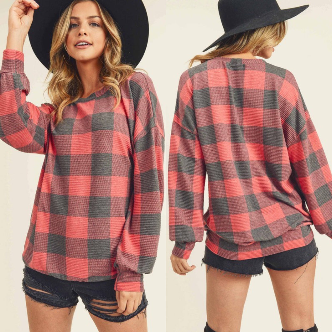 Red/Charcoal Plaid Top