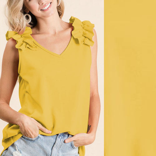 Ruffle V-Neck Sleeveless Top-Honey Mustard