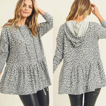 Leopard Hooded Peplum Top-Grey