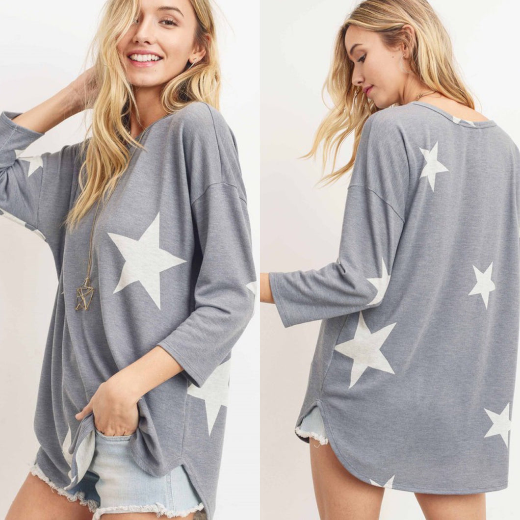 3/4 Sleeve Star Top-Grey
