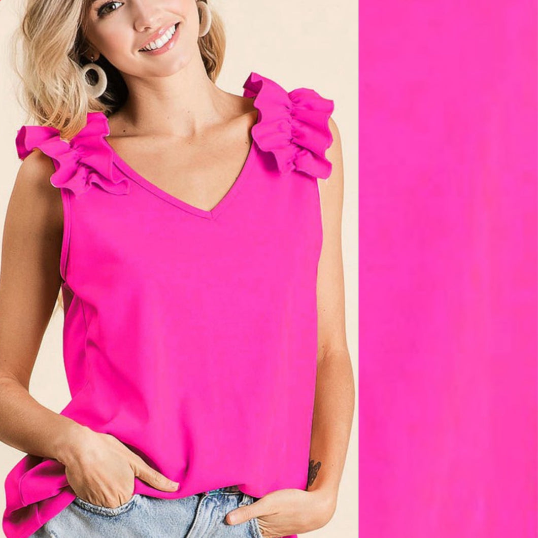 Ruffle V-Neck Sleeveless Top-Hot Pink