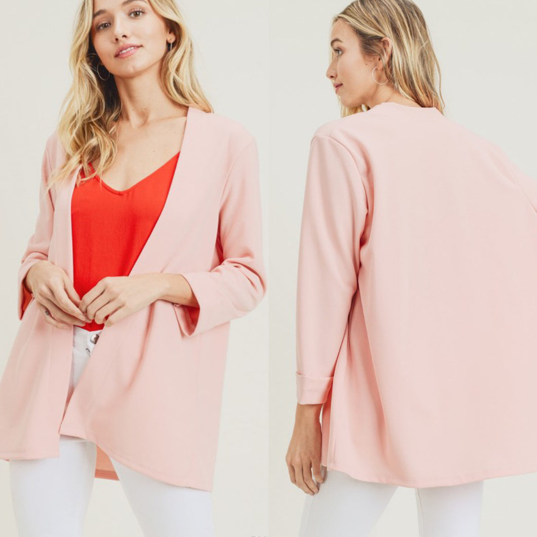 Chic Collarless Blazer-Blush Pink