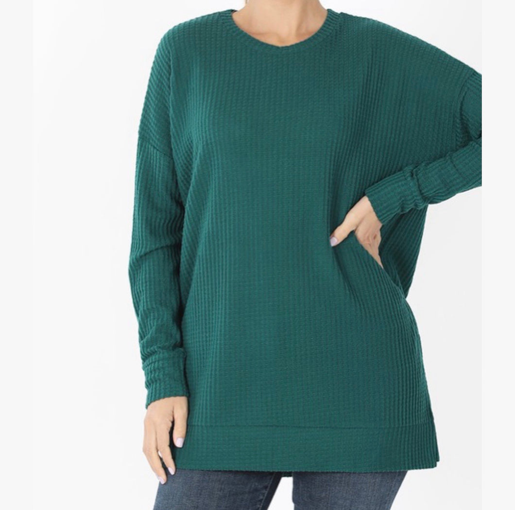 Thermal Waffle Knit Sweater Top-Deep Green