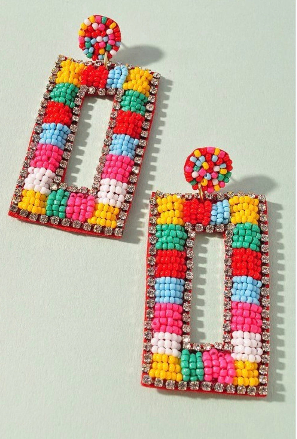 Rectangle Beaded Earrings