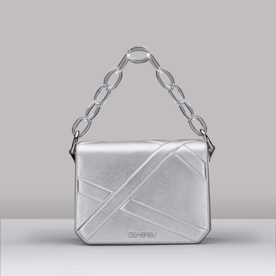 SILVER CROSS BODY BAG X LINE