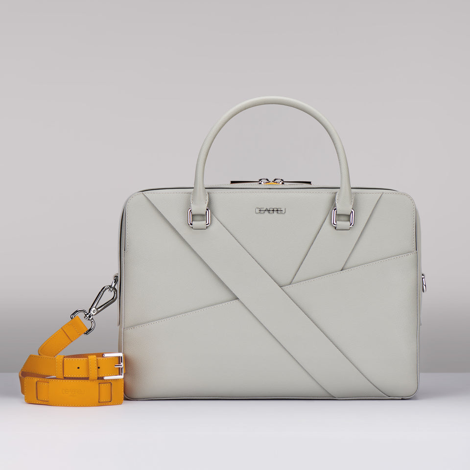 GRAY SAFFIANO LEATHER BUSINESS
