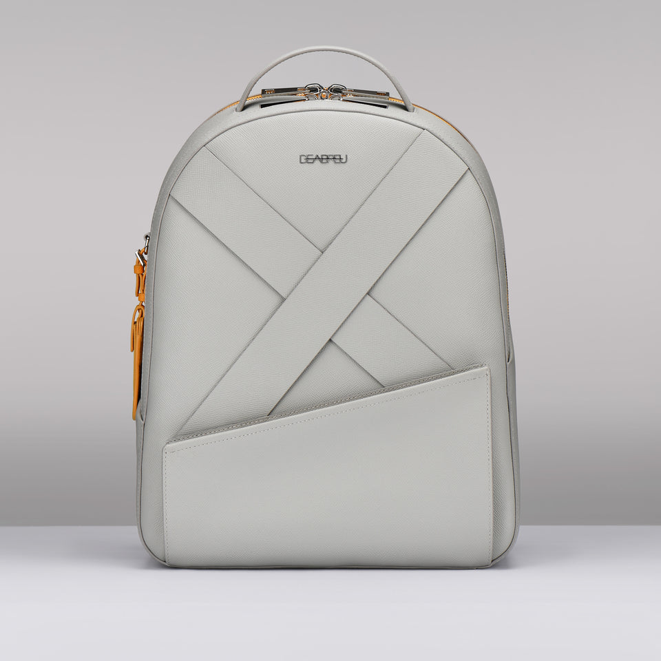 GRAY SAFFIANO LEATHER BACK PACK
